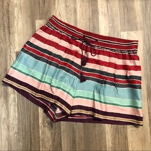 LOFT Multicolored Striped Drawstring Shorts M